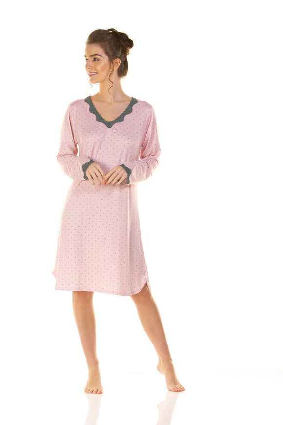 La Marquise Charcoal Dots long Sleeve V Neck Nightdress
