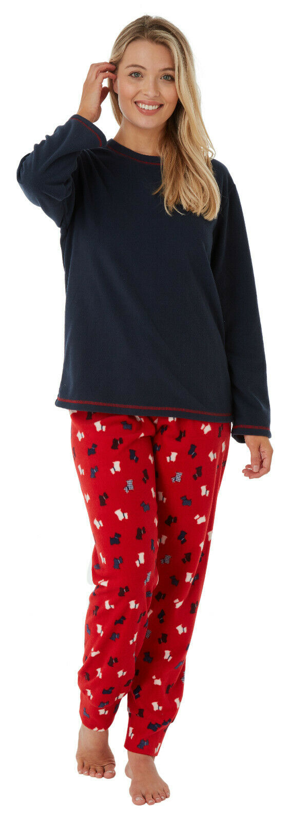 Ladies Suzy & Me Fleece Scotty Dog Pyjamas Size 10-12 only
