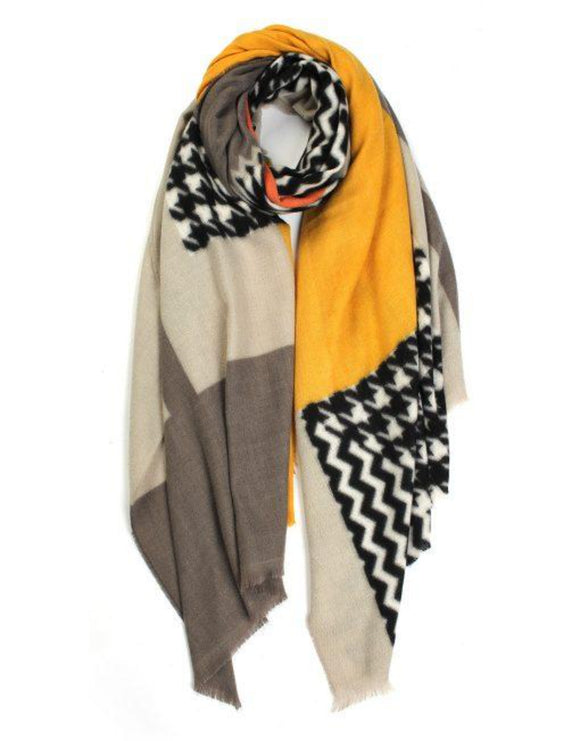 yellow, black, white and grey patterned soft winter scarf