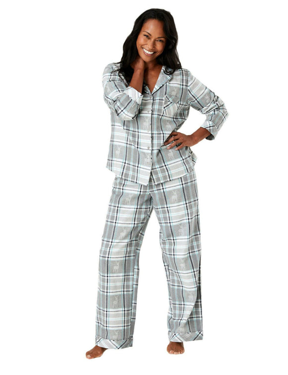 Womens Cotton grey and blue checked stag pyjamas