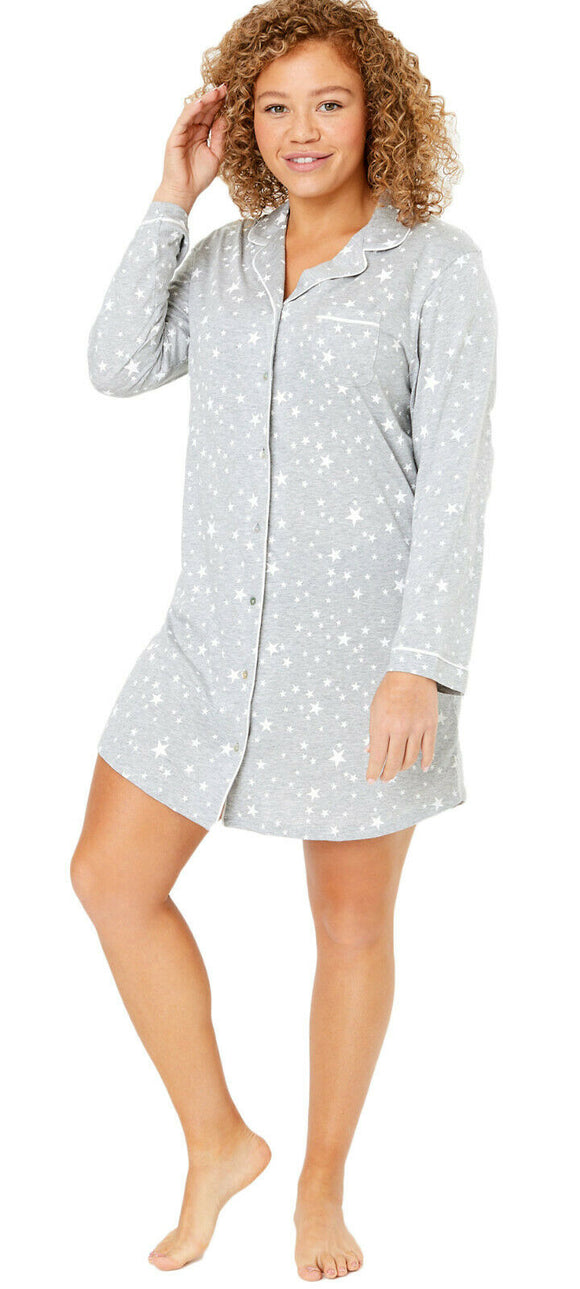 Ladies Famous Make Star Print Cotton Modal Button Through Nightshirt