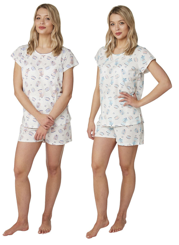 Short Tea & Coffee Design Stretch Jersey Pyjama set by Indigo Sky