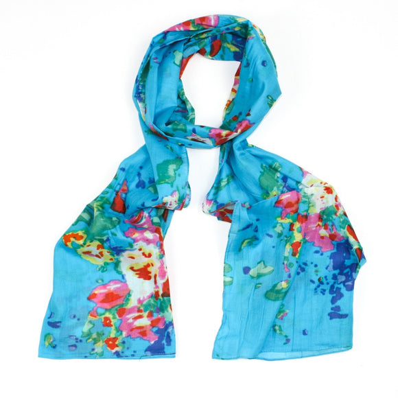 Light blue organic cotton scarf with flower design
