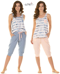 Mineral Stripe No Sleeved Pyjamas By La Marquise