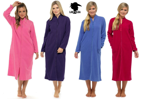 Lady Olga cosy fleece Zip up Dressing Gown with satin Trim
