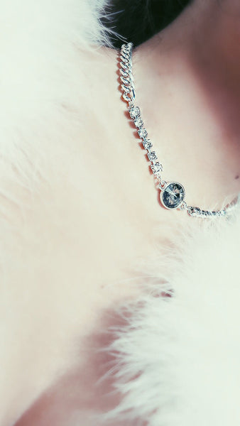 """Once Upon a Nightmare"" Swarovski Crystal & Chain Choker - SMOKEY PENDANT"