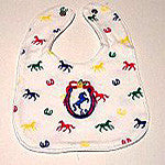 Super Soft Baby Bib with Froicking Horses  Primary Colors - EquineGiftBoutique