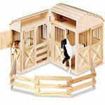 Wooden Folding Horse Barn for Model Horses - EquineGiftBoutique