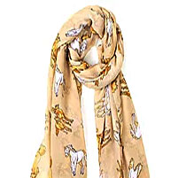 Beige Scarf with artist Lila Blakeslee's design