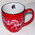 Bistro Mugs with Horse Head Painted Inside
