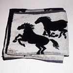 Black and White Mustang Terry Cloth Hand Towels