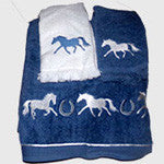 Bath Size Towel Set  with Horses and Horseshoes.