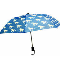 Blue and White Horses Umbrella - EquineGiftBoutique