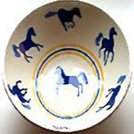 Hand Painted Light Blue Horses Pasta Bowl
