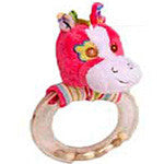 Bright Pink Horse Head Rattle and Teether - EquineGiftBoutique