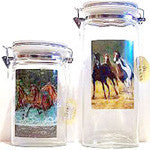 Pair of Glass Canisters with Chris Cummings art work