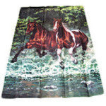horses gallop in water Garden Flag