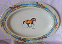 Western Horse Platter with Scenic Rim