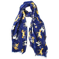Navy Scarf with artist Lila Blakeslee's design
