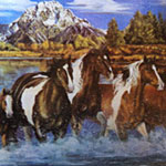 Surface Saver with Wild Horses Galloping under their Mountains - EquineGiftBoutique