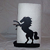 Paper Towel Holder Rearing Horse: Free Standing in Black Matt Finish - EquineGiftBoutique