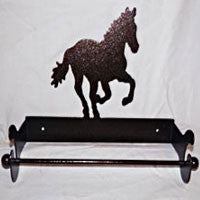 Paper Towel Holder Galloping Horse: Wall Mount in Copper Vein Finish - EquineGiftBoutique