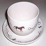 Extra Large Soup Mugs  with Horse Images and Saucer - EquineGiftBoutique