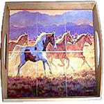 Wood Tray with Ceramic bottom picturing SouthWestern Horses