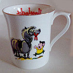 "Bone China Thelwell Mugs in 6 Patterns. ""stole my ribbon"""