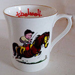 "Bone China Thelwell Mugs in 6 Patterns.""standing in the saddle"""