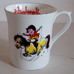 "Bone China Thelwell Mugs in 6 Patterns.""no reins"""