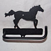 Toilet Paper Holder with a Galloping Horse Black Matt Finish