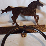 Towel Ring with Galloping Horse with Copper Vein Finish