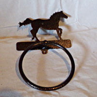 Towel Ring with Galloping Horse with Copper Vein Finish - EquineGiftBoutique