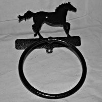 Towel Ring with Galloping Horse in Black Finish