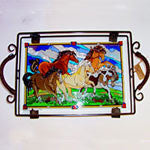 Hand Painted Wild Horses on Glass Tray in Metal Holder