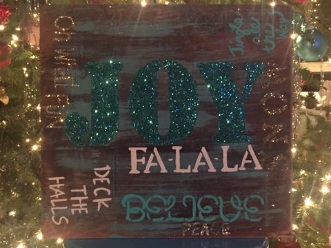 JOY FA-LA-LA Wood Sign