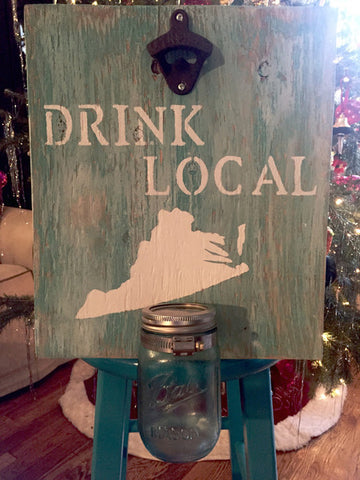 Drink Local Wood Sign w/ Bottle Opener - Virginia Fans