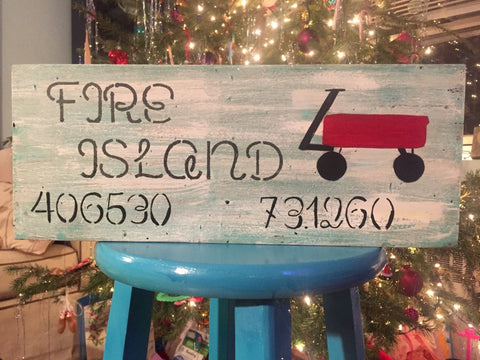 Fire Island Wood Sign with Traditional Red Wagon
