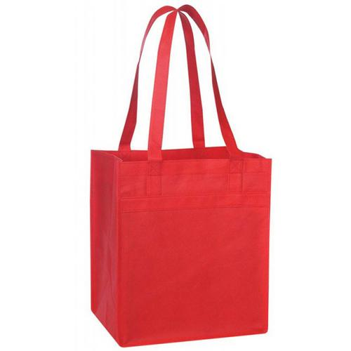 Case of [96] Non Woven Tote with Fabric Covered Bottom - Red