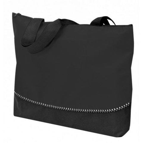 "Case of [48] Poly Tote Bag with Zipper - Black (18"" W x 13"" H x 2-1/2"" D)"