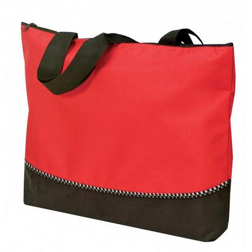 "Case of [48] Poly Tote Bag with Zipper - Red/Black (18"" W x 13"" H x 2-1/2"" D)"