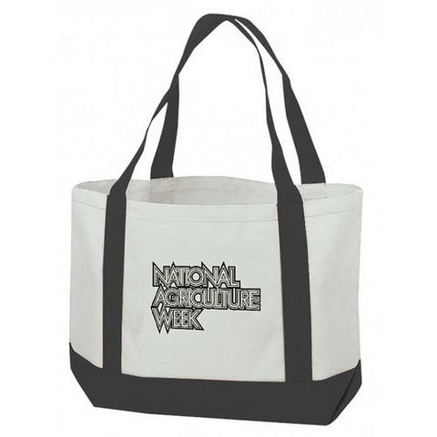"Case of [48] Canvas Tote Bag - Black (19"" W x 12"" H x 4-1/2"" D)"