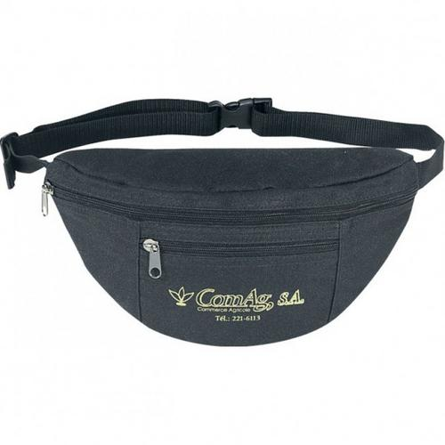 Case of [144] Poly Two Zipper Fanny Pack [Black]