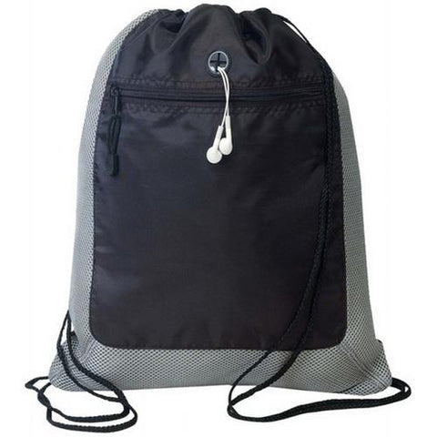Case of [72] Drawstring Tote Bag [Dark Grey/Black]