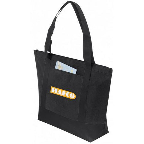 Case of [72] Non Woven Tote with Zipper [Black] - Style #104