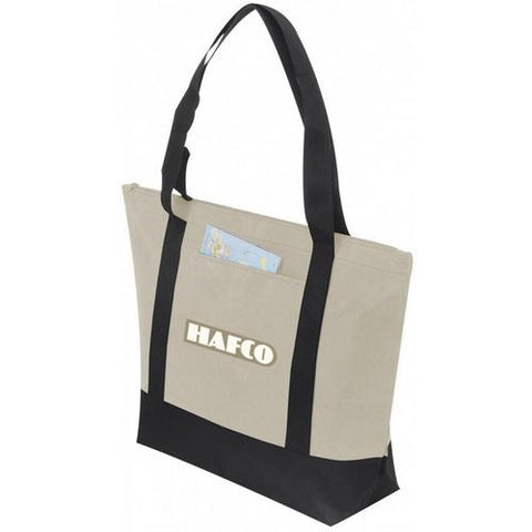 Case of [72] Non Woven Tote with Zipper [Natural/Black] - Style #104