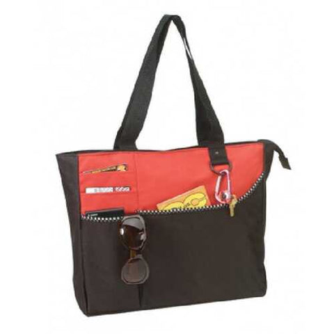 Case of [48] Poly Tote Bag with Zipper [Red/Black] - Style #209