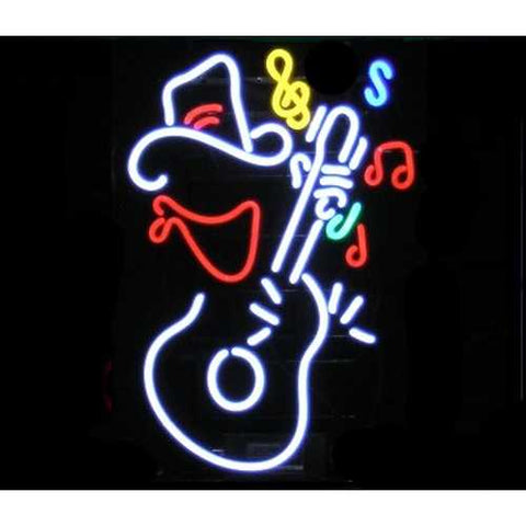 Guitar Cowboy Neon Bar Sign