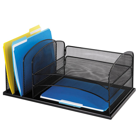 Safco Steel Mesh 6-Compartment Desk Organizer, Black Safco Steel Mesh 6-Compartment Desk Organizer, Black